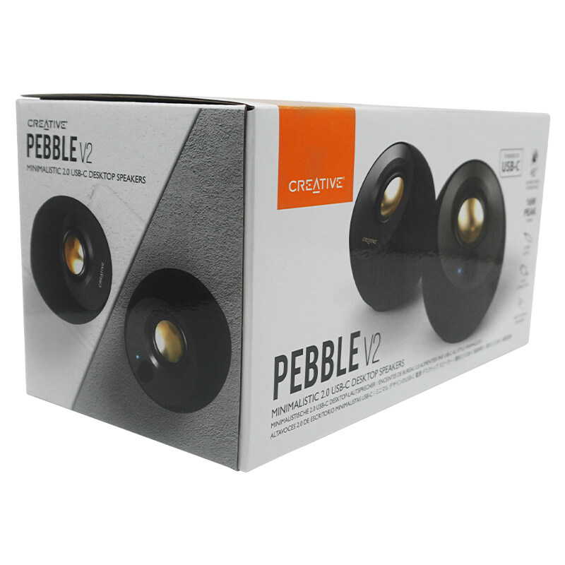 Creative Pebble V2 - Minimalistic 2.0 USB-C Powered Desktop Speakers Up to 8W RMS Power 3.5 mm AUX-in Speaker Singapore