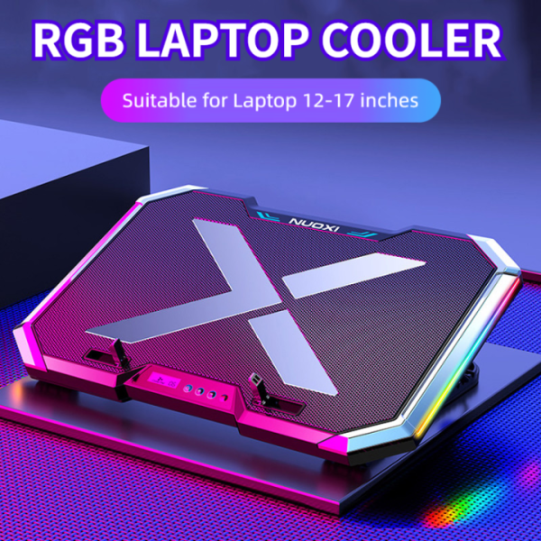 Gaming RGB Laptop Cooler Notebook Cooling Pad Super mute 6 LED Fans Powerful Air Flow Portable Adjustable Laptop Stand Malaysia