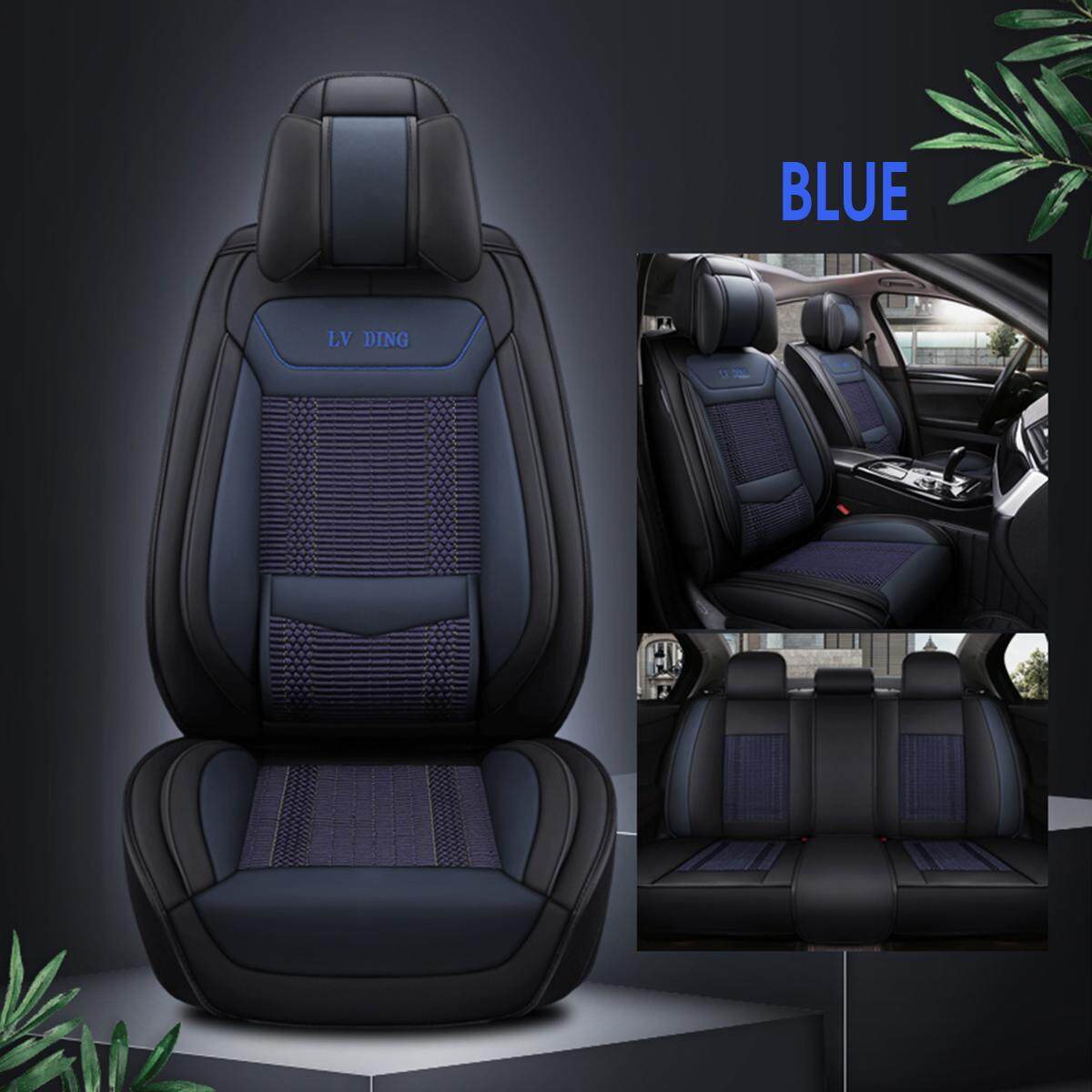 1x Universal Auto Car Front Seat Covers Black Deluxe PU leather Cushion Mat