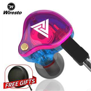 Wiresto QKZ VK4 In Ear Earphone Stereo Headphone Sport Wired Earbuds HiFi Heavy Bass Sound Noise Isolating Headset with Microphone with Free Case Box thumbnail