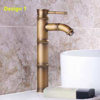 Biggers สุขาภิบาลสไตล์จีนไม้ไผ่ออกแบบทองเหลืองห้องน้ำลุ่มน้ำก๊อกน้ำอ่างน้ำร้อนเย็นแตะเดี่ยวจับควบคุมด้วยท่อ