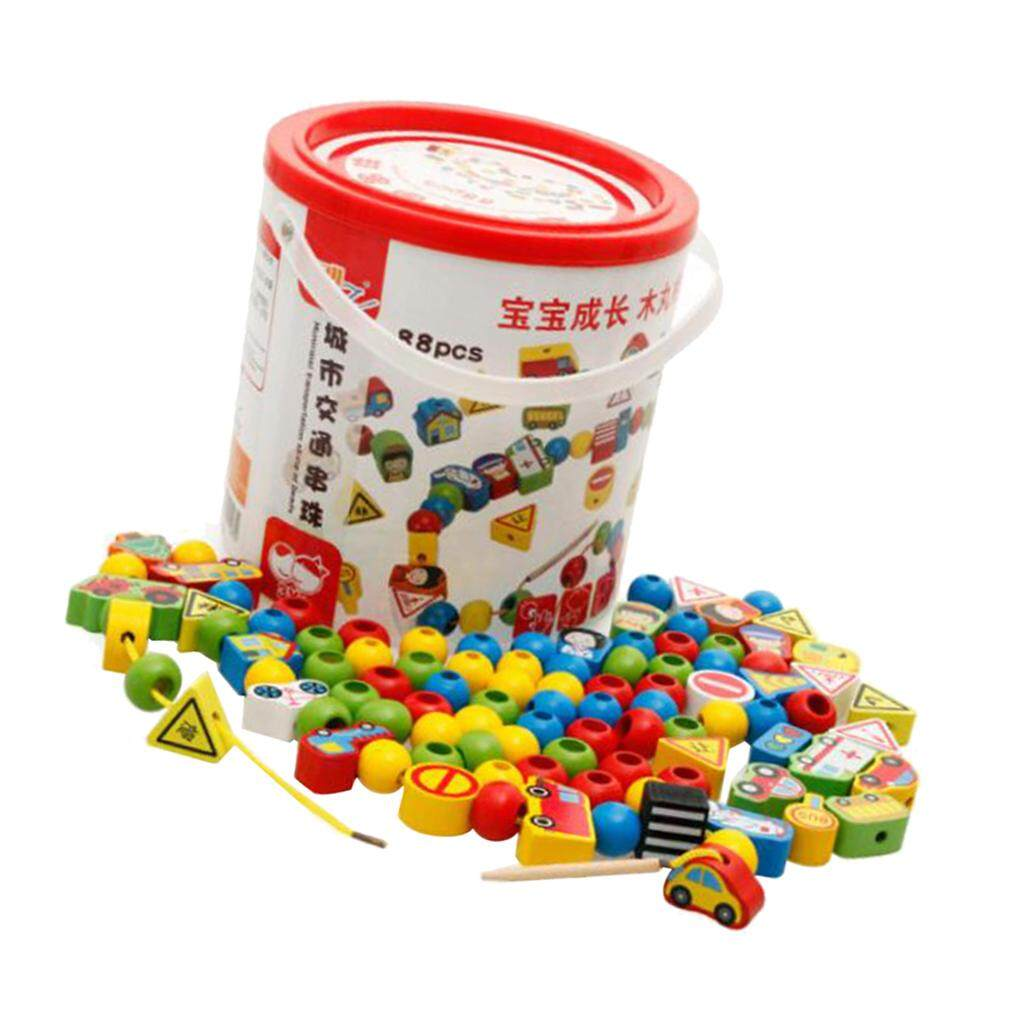 Perfk Lacing Beads Traffic Theme Bead Toy Montessori Educational Wood Toy for Kids