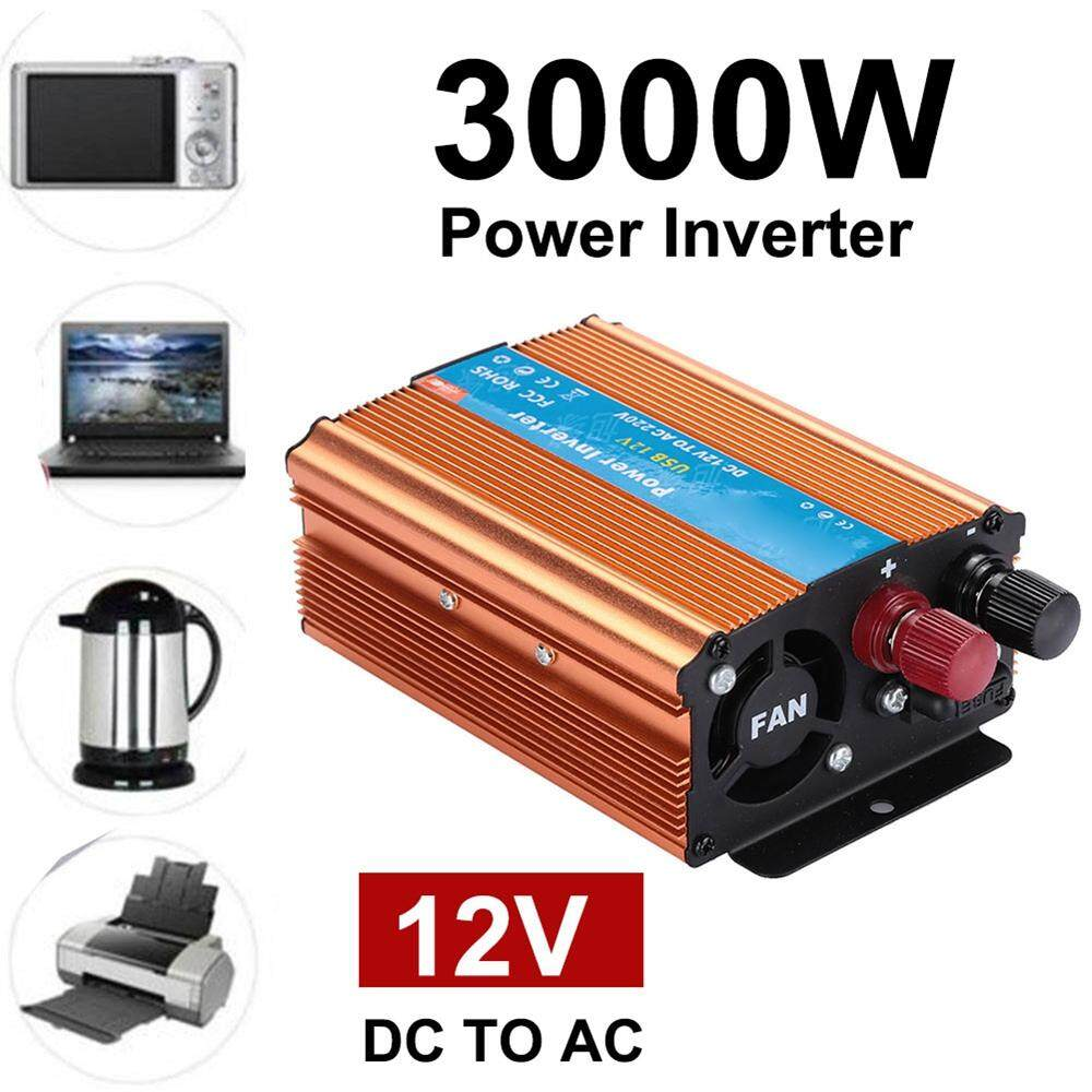 3000W DC 12V to AC 220V Car Inverter gold aluminium alloy Gold Efficient  conversion USB 50 / 60Hz Power inverter Anti-protection