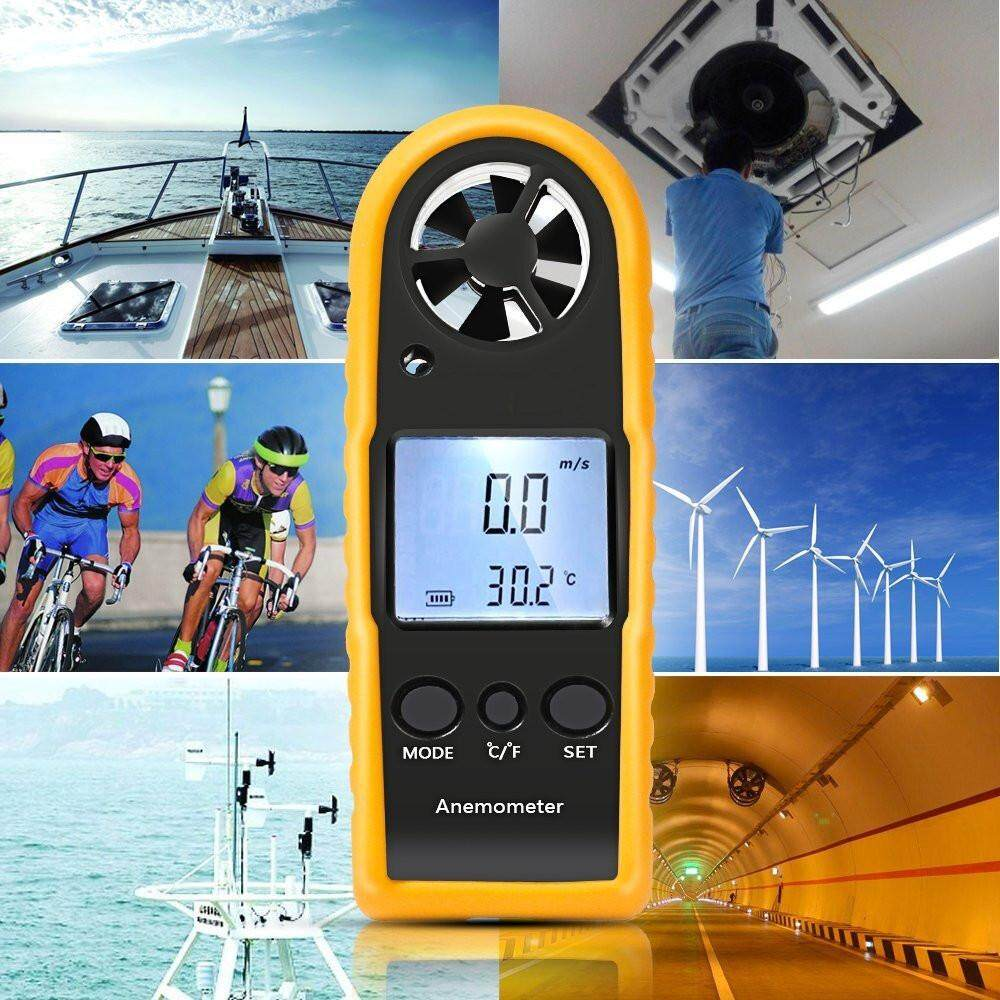Digital LCD Thermometer Anemometer Temperature Air Wind Speed Tester Gauge