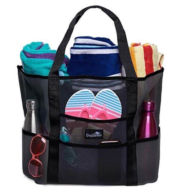 Mesh Beach Pool Tote Bags Large Travel Picnic Zipper Shoulder Bag