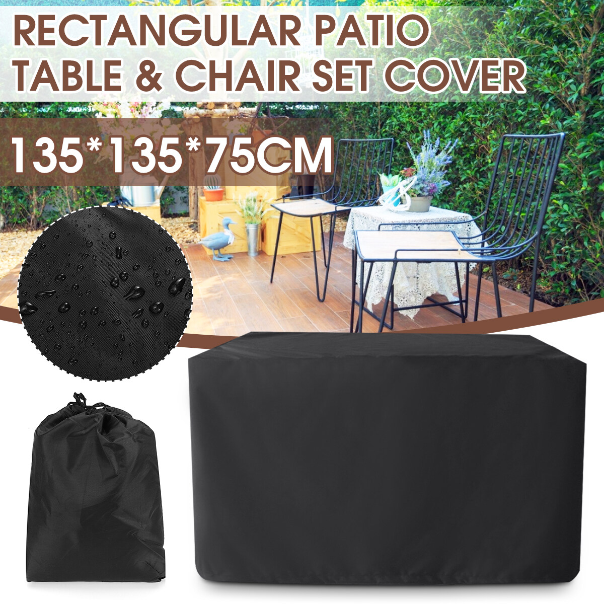 210D Rectangular Table Cover Oxford Cloth Outdoor Furniture Cover 135*135*75cm