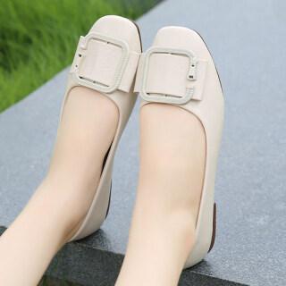 Los Boutique Giày búp bê nữ dáng thuyền mũi tròn chất liệu đế polyurethane màu trơn đơn giản phong cách Hàn Quốc giá tốt - INTL thumbnail
