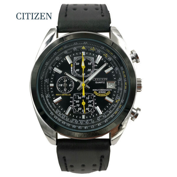 Citizen AT8020-03L Quartz Movement Mens Watch Citizen World Chronograph Atomic Timekeeping Watch men Military Leather Wrist Watch Malaysia