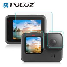3 Cái PULUZ Cho GoPro HERO9 Ống Kính Đen + Màn Hình LCD Kính Cường Lực