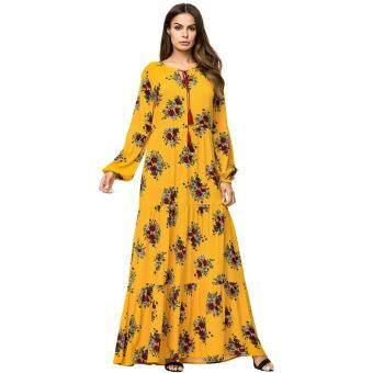 faaeeacd5cbc การส่งเสริม Abaya Dubai Long Sleeve Muslim Dress Women Flowers Yellow  Turkey Malaysia Turkish Kaftan Islamic Clothes Plus Size Robe Musulman  ซื้อที่ไหน ...