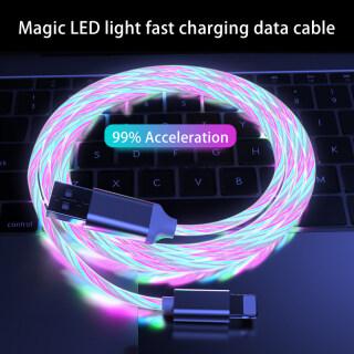 Cáp Sạc Điện Thoại Di Động USB Type C Flow Ánh Sáng Dạ Quang Dây Dữ Liệu Dành Cho Samsung Huawei Dây Sạc Nhanh Apple Kable Micro LED thumbnail