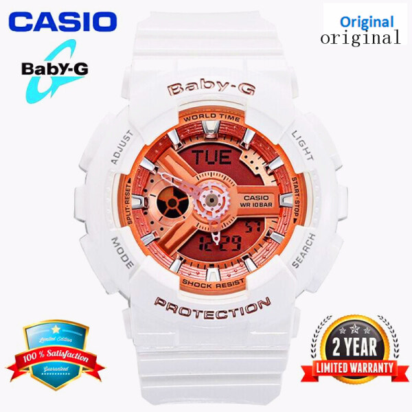 (HOT SALE) Original Baby G BA110 Women Sport Watch Dual Time Display 100M Water Resistant Shockproof and Waterproof World Time LED Light Girl Sports Wrist Watches with 2 Year Warranty BA-110-7A1 White Rose Gold (Ready Stock) Malaysia