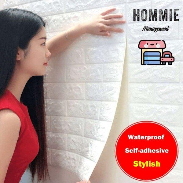 ✨READY STOCK✨70cmX77cm 3D WallPaper Brick Wall Stickers PE Foam Waterproof Self Adhesive Wallpaper Pelekat Dinding Batu Bata