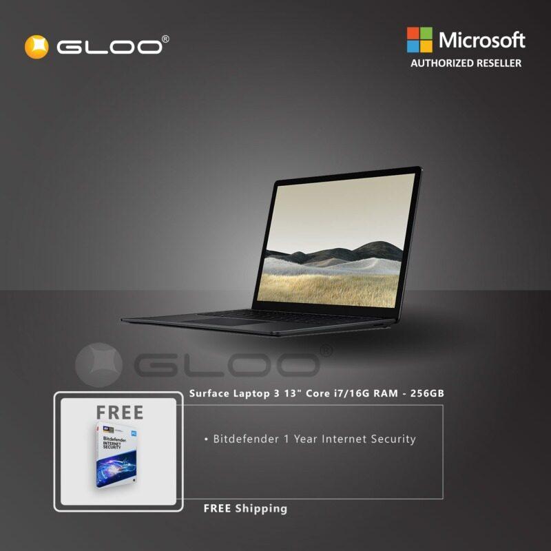 Microsoft Surface Laptop 3 13  Core i7/16GB RAM - 256GB Black - VEF-00037 + Bitdenfender 1 Year Internet Security Malaysia