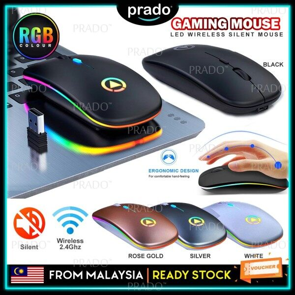 PRADO Malaysia Rechargeable LED Mute Silent Wireless Mouse 2.4Ghz USB Receiver Dongle Office Gaming Mouse Malaysia