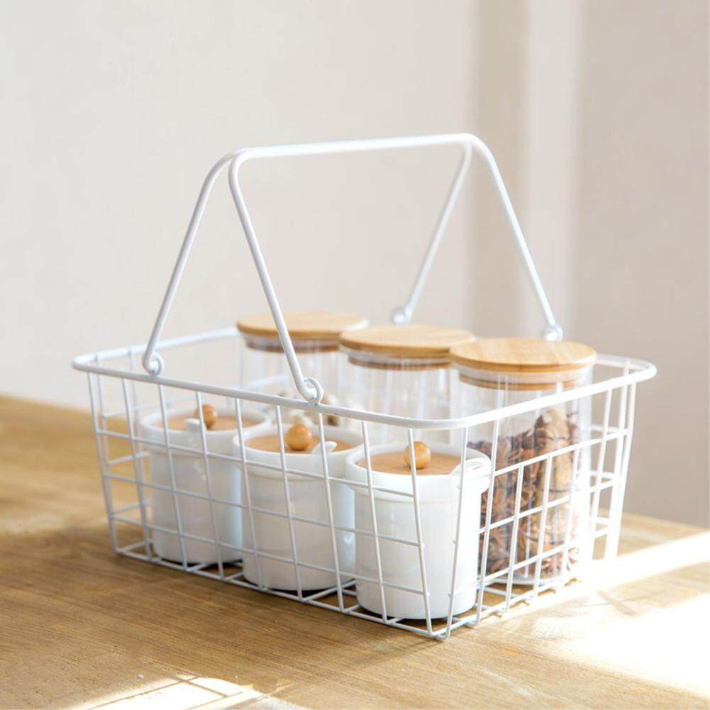 Storage Basket Grocery Hollow Simple Living Room Holder Vegetable Kitchen Organizer Linen Lining Eggs Iron Frame Multifunctional Desktop Fruits Nordic Style Portable Handheld Shopping Bags & Baskets Luggage Rectangle