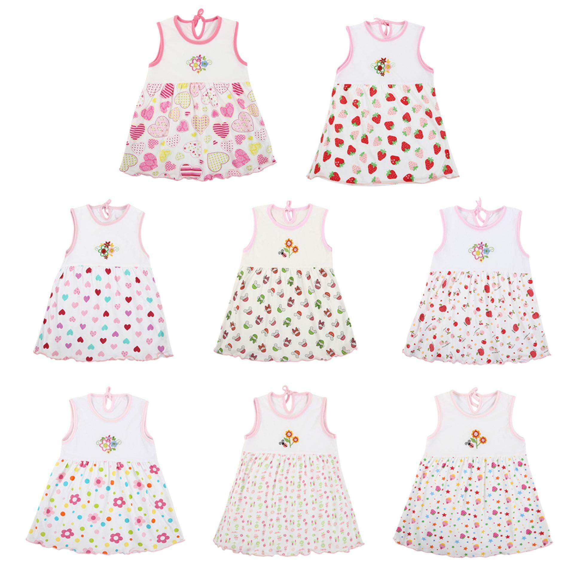 7aae09e7ae5 Baby Summer Dresses Girls O-Neck Sleeveless Cute Flowers Cotton Mini Dress
