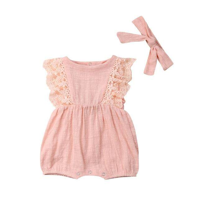 6bbcea71a01 Pretty Summer Newborn Kid Baby Girl Outfits Lace Ruffle Sleeve Romper Solid  Jumpsuit Bow Headband 2Pcs