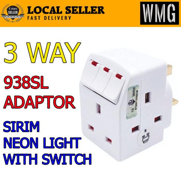 SIRIM 3 Way Adaptop Multi Adaptor with Switch Neon Light 2 pin plug direct Good Quality