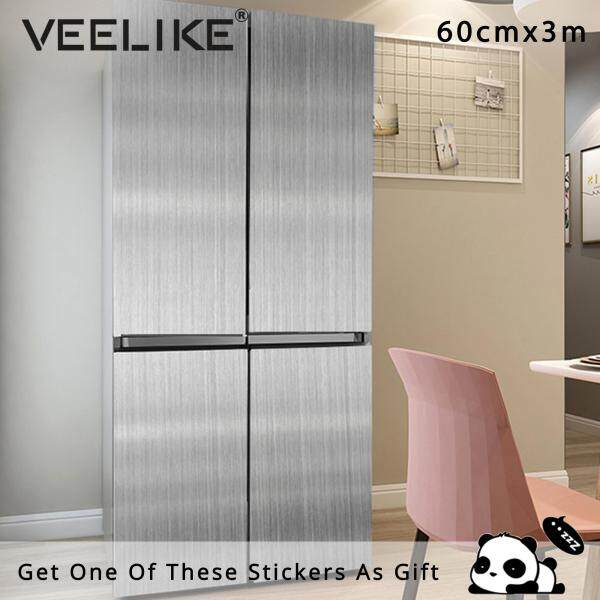 Veelike Brushed Silver Self Adhesive Wallpaper Wall Sticker Waterproof Aluminum Foil Decal Décor 60cm*3m