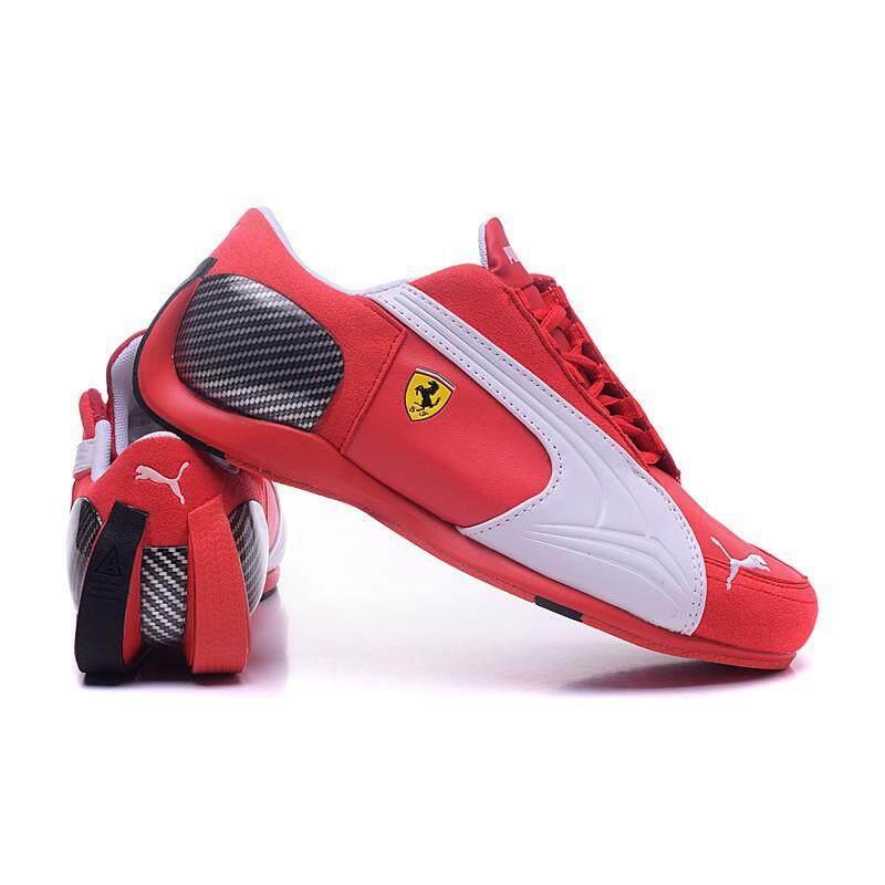 SLK ★ Ready Stock Original Puma Ferrari 4 leather Sports shoes Casual Shoe red-white