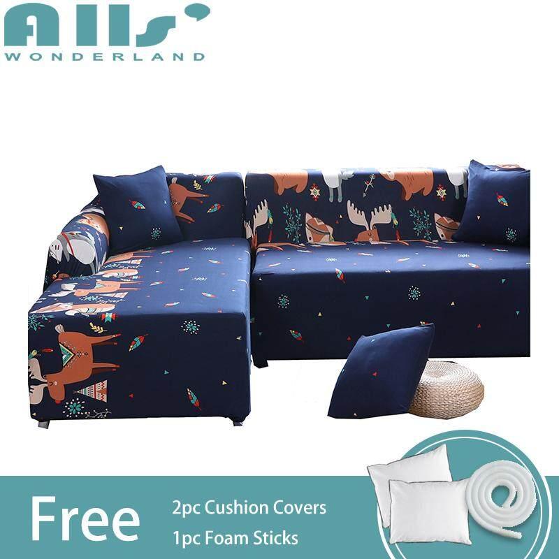 【Sofa Cover】(2pcs)Cartoon Animal Pattern Elastic Sofa Cover for L Shape Cover Polyester Fabric Universal Corner Sofa Slipcover(2 seater+4 seater)