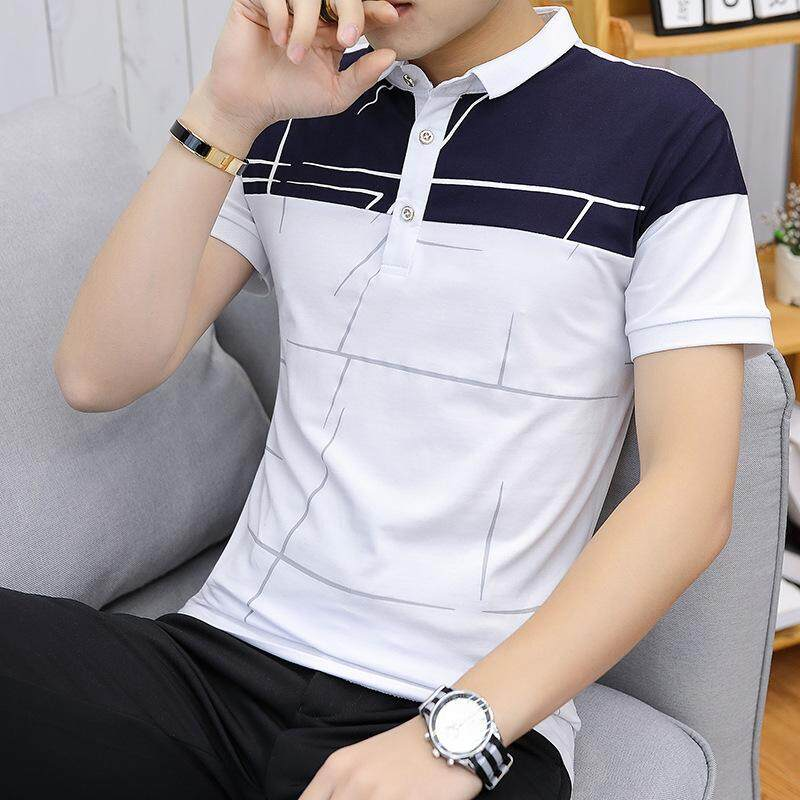 f69e75de535 2019 Spring New Business Fashion Stand Collar Men  s Short-sleeved T-shirt