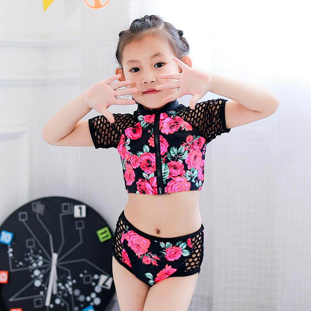 Ddd Toddler Kid Baby Girls Short Sleeve Floral Pool Beach Swimwear Suits Bikini Sets By Danvier.