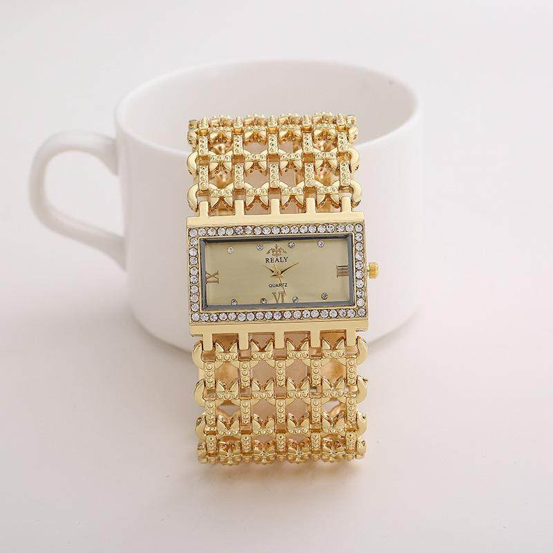 REALY Womens Quartz Diamond Case Alloy Bracelet Square Watch with Super Thin Hollow Strap Malaysia