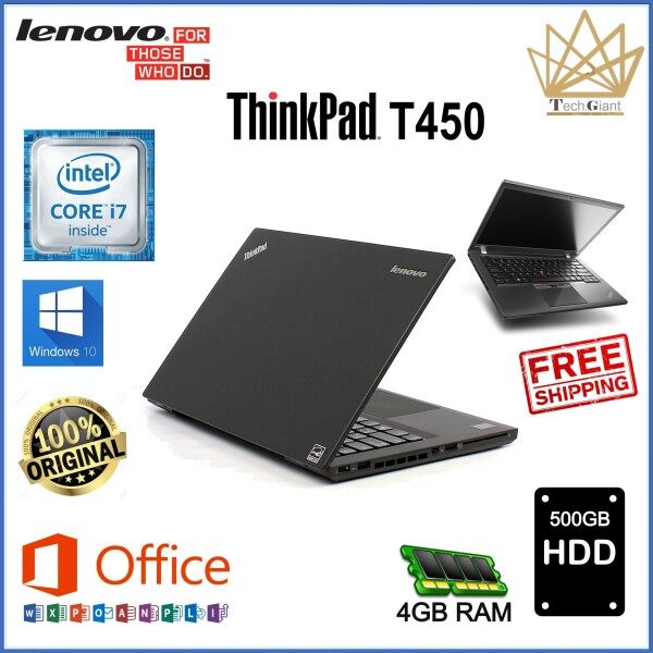 ULTRA SLIM - LENOVO ThinkPad T450 - CORE i7 5600U / 4GB / 8 GB / 16GB DDR3 RAM / 128GB / 180GB / 256GB / 512GB / 1TB SSD / 500GB HDD / 1TB HDD / 14 inches HD SCREEN / WINDOWS 10 PRO / REFURBISHED NOTEBOOK Malaysia