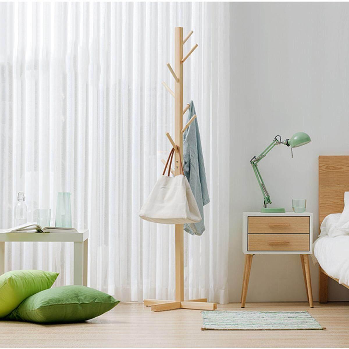 ❤️ Dream Best Simple solid wood floor coat rack living room bedroom hanger storage rack SizeA Renting/Decoration