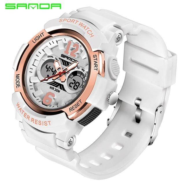 SANDA Rose gold Women Sports Watches Women Waterproof Swimming Ladies Jelly Watches Malaysia