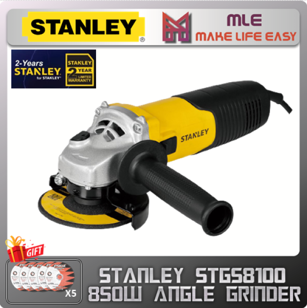 """STANLEY STGS8100 4"""" 100mm 850W Slide Switch Small Angle Grind"""