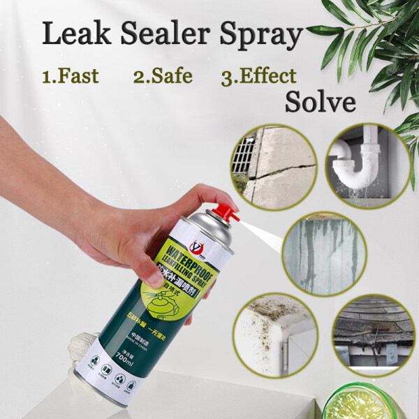 CNY High Capacity Leak Sealer Spray 700ml Polyurethane Leaking Sealer Spray Seal Waterproof Pipes Lofts Gutter/Down Pipes Shed Roofs Crack Leaking Sealant Spray Leak-trapping Mending Seal Spray Asphalt Solvent Sealant Coating (Black /White Leak Sealer)