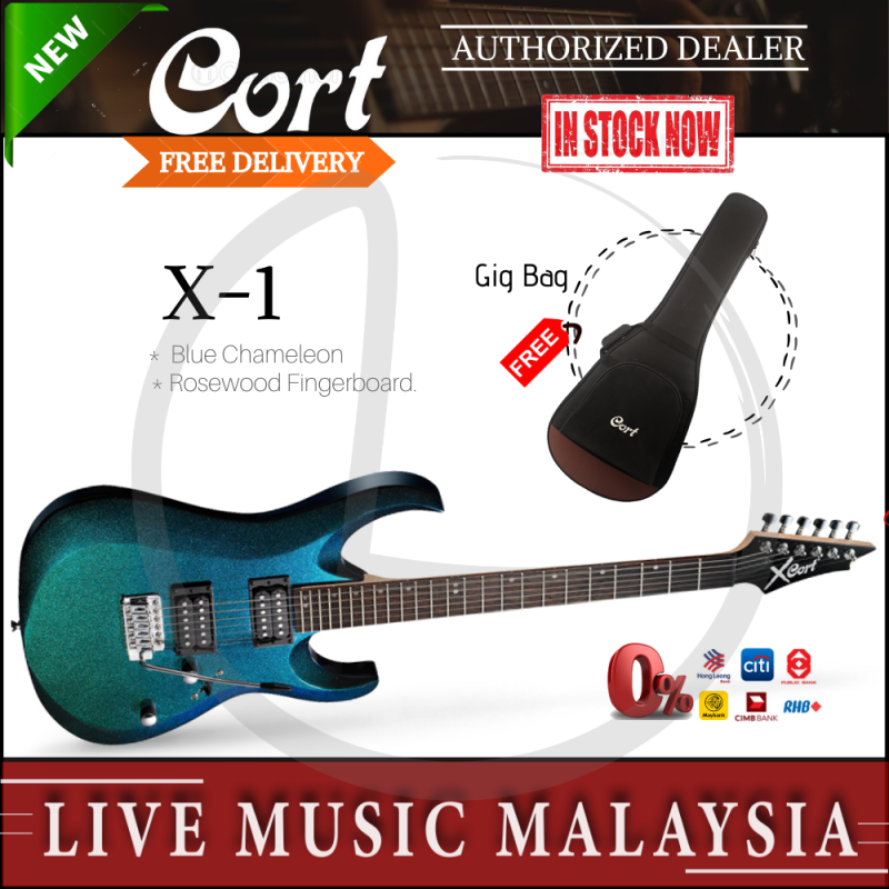 Cort X-1 Electric Guitar with Gig Bag - Blue Chameleon (X1/X 1) Malaysia