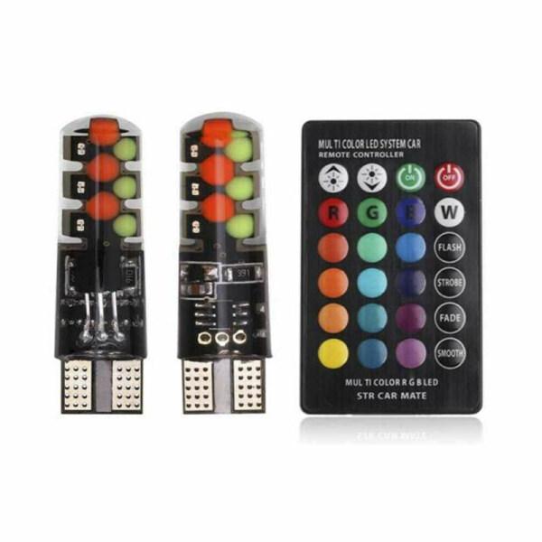 Tra 2Pcs T10 5050 W5W 6 SMD Điều Khiển Từ Xa RGB LED Đèn Vòm Đọc Sách Ô Tô Bóng Đèn Pha