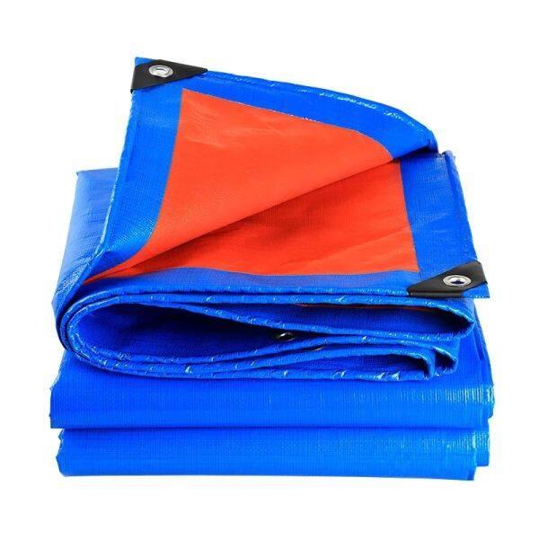 KOREA Economy Blue Orange 6 x 12 Canvas Ready Made PE Tarpaulin Sheet Outdoor Construction Renovation Floor Cover Hardware Canopy Tent Side Wall Shield Waterproof UV Protection