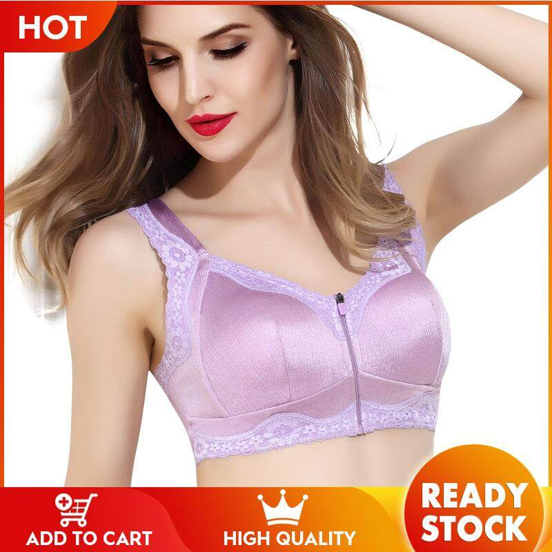 e4f4561a2 Oooo New ladies front zipper without rims large size sports bra full cup vest  gathered underwear
