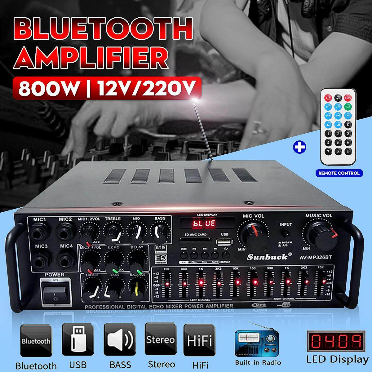 【Free Shipping + Super Deal + Limited Offer】EQ Bluetooth Stereo Amplifier  800W 4 ohm 2CH USB 64GB Disk/SD Card Car Home 220V
