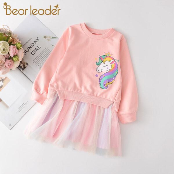 Bear Leader 2020 Mới Bé Gái Phim Hoạt Hình Quần Áo Dễ Thương Trẻ Em Lưới Chắp Vá Váy Trẻ Em Gái Unicorn Pattern Công Chúa Dress