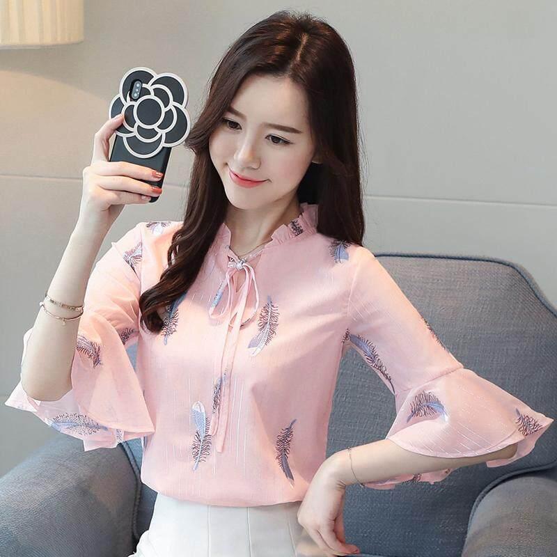 Afeg Baru Korea Bulu Bordir 1/2 Lengan Baju Sifon Busur Lengan Daun Teratai Kemeja