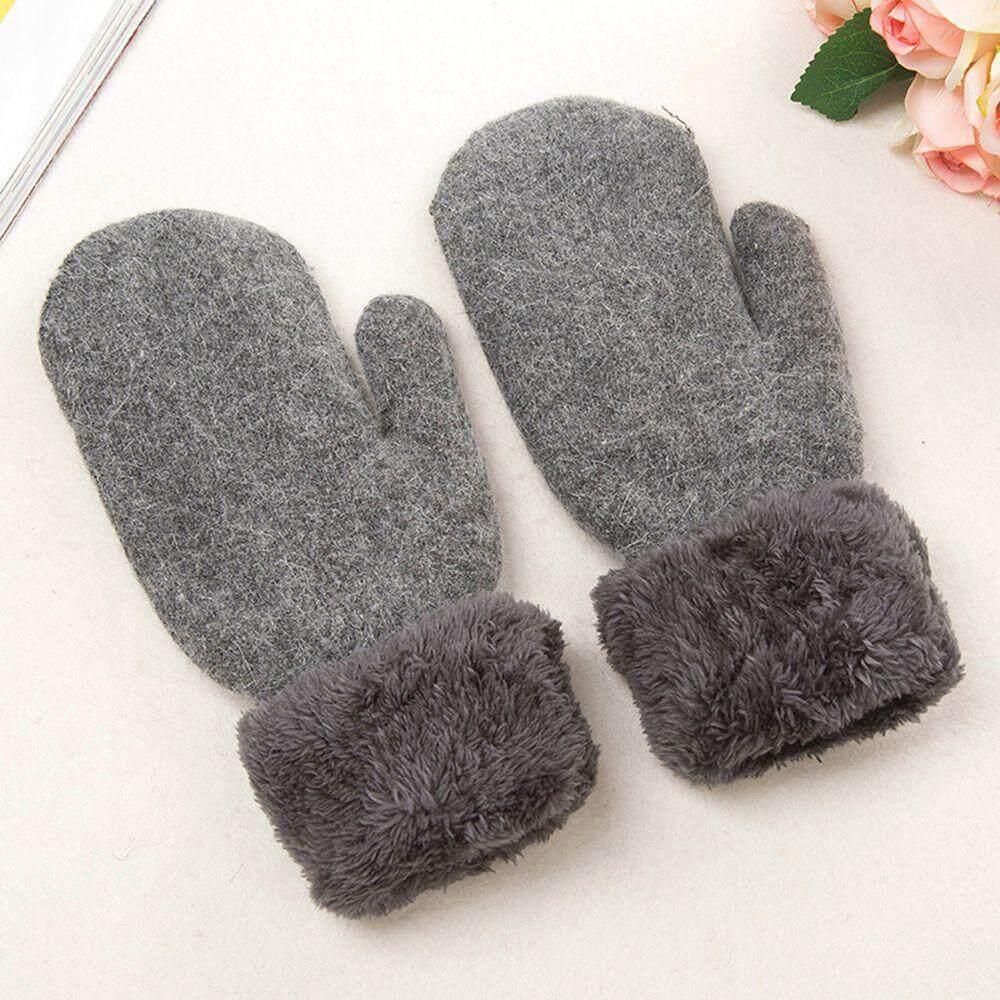 Fashion Women Winter Thickening Warm Faux Fleece Plush Cotton Knitted Gloves