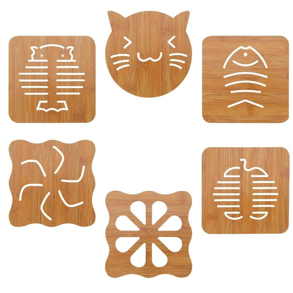 Functional Bamboo Trivets,lovely And Creative Hot Pads,non-Slip Hot Dishes,bowls Holder Mat,flexible,heat Resistant Trivet For Table Kitchen (set Of 6).
