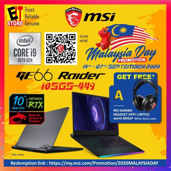 MSI GE66 RAIDER 10SGS-449 GAMING LAPTOP (I9-10980HK+HM470/32GB/2TB SSD/15.6 FHD 240Hz/RTX 2080 SUPER MAXQ 8GB/W10/2YRS) + BACKPACK Malaysia