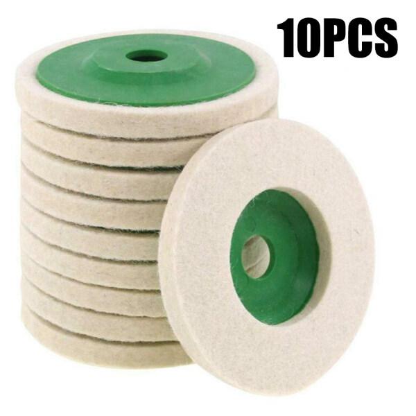 10PCS 100mm 4 In Wool Buffing Polishing Wheels Felt Pad Discs Tool Set