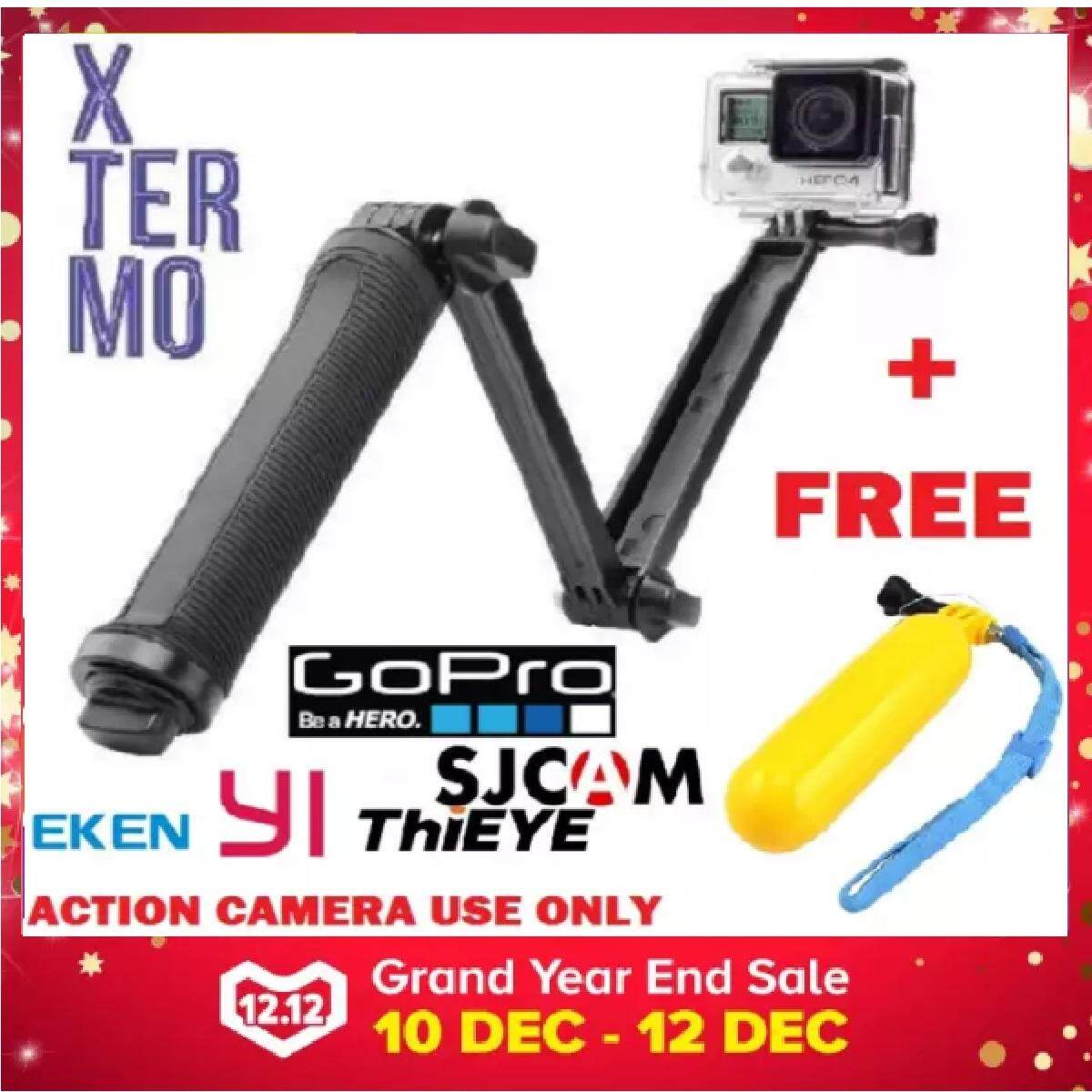 Xtermo 3 Way Extendable Monopod Pole With Tripod Adapter For Gopro Hero 6 5 4 Sjcam Eken Xiaoyi Goq F60r Thieye Action Camera With Tripod Stand Portable Handheld - Black By Atcetera Solutions.