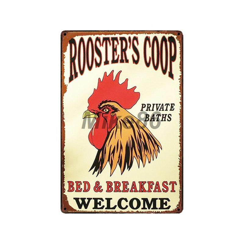 Metal Tin Sign happy chickens lay more eggs Bar Pub Home Vintage Retro Poster
