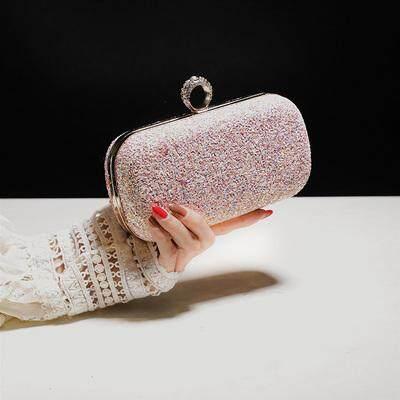 Women Korean Fashion Mini Sequin Clutch Clip Chain Handbag