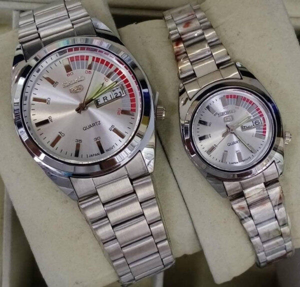 NEW PROMOTION SEIKO_5 ANALOG STAINLESS STEEL WATCH SET FOR COUPLES(with free gift box) Malaysia