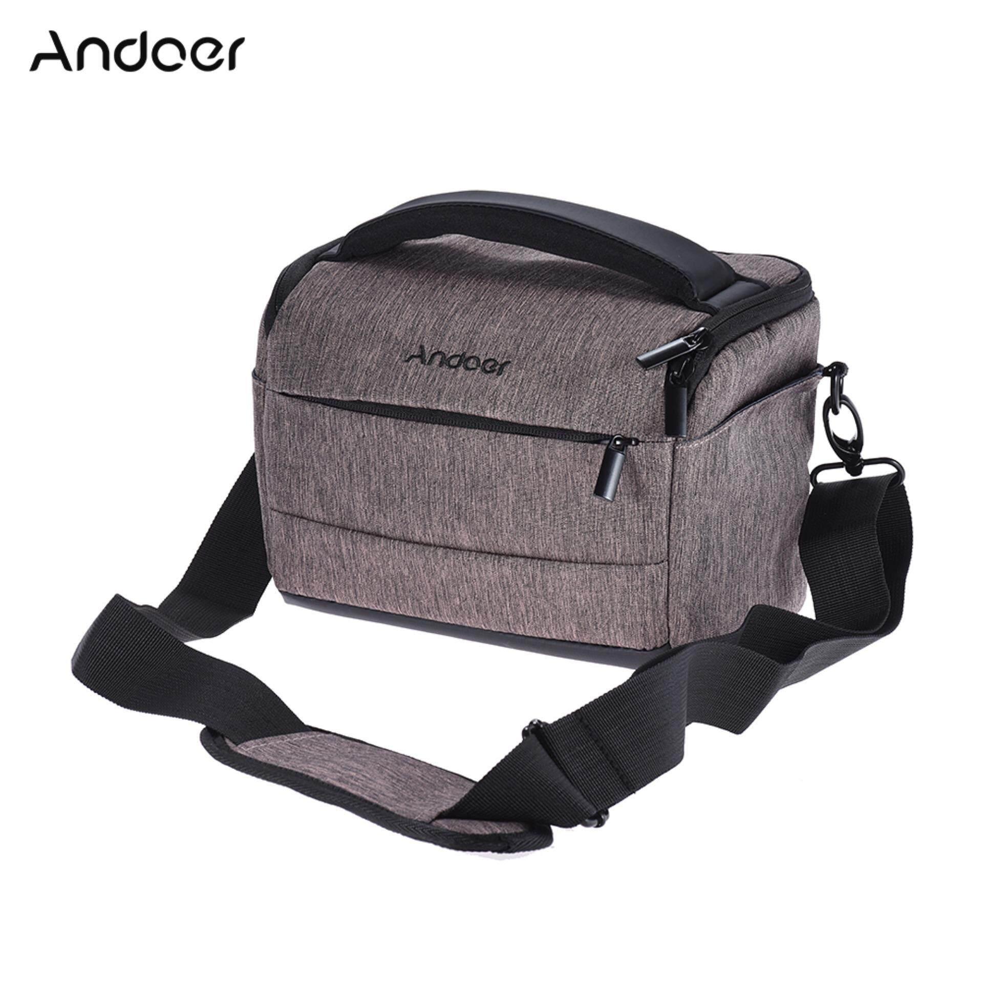 Andoer Cuboid-shaped DSLR Camera Shoulder Bag Portable Fashion Polyester Camera Case for 1 Camera